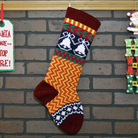 Hand Knit Zigzag Christmas Stocking with Burgundy Cuff and White Bells, Can be Personalized, Fair Isle, Wedding Gift, Baby Gift, Colorful