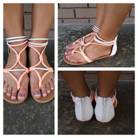 Neon Coral & White Rope Sandals