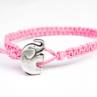 Elephant Hemp Bracelet Pink Friendship