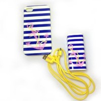 Juicy Couture Sailor Girl Anchor Iphone 4 4/S Case & Wall Charger