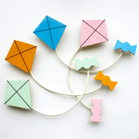 Kite Brooch - Wooden Brooch - Collar Clip - Sweater Clip - Pastel Jewellery - Mint, Yellow, Blue or Pink
