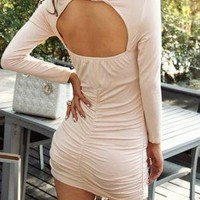 Fold long sleeve back significant figure hollow sexy dress
