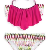 Girl's To The 9's Ikat Print Ruffle Two-Piece Swimsuit