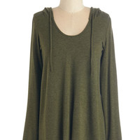 ModCloth Mid-length Long Sleeve Hoodie Cookie Competition Hoodie in Olive