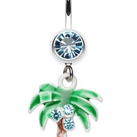 Jeweled Palm Tree Dangle Belly Button Ring