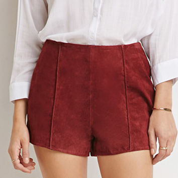 Genuine Suede Flat-Front Shorts