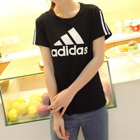 """Adidas"" Unisex Fashion Casual Stripe Letter Print Short Sleeve Cotton T-shirt Couple Shirt Top Tee"