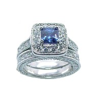 Women's 2.50 ct Halo Sapphire Blue Cz Sterling Silver Rhodium Plated Wedding Ring Set