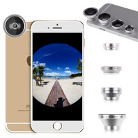 2015 Hot Sale 4 in 1 Mobile Phone Lenses Fish Eye Wide Angle Macro Telephoto Lens Camera Kit For iPhone 6 Plus 5S 5C