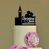 Rustic Wedding Cake Topper, Personalized Cake Topper, Funny cake topper, wedding cake topper, custom cake topper, Big Ben london silhouette