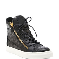 London Embossed-Leather High-Top Sneakers