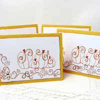 Pumpkin Note Cards - Small Note Cards - Set of 4 Cards - Autumn Theme - Gold Note Cards - Blank Note Cards - Pumpkins - Gift Set