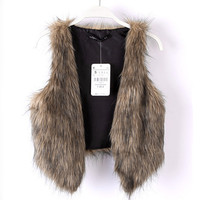 Fashion Pure Color Faux Fur Vest
