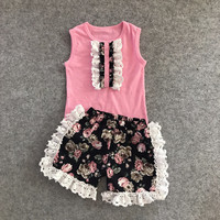 new arrival summer baby girls boutique clothes pink floral striped shorts sleeveless ruffles cotton ruffles outfits kids wear