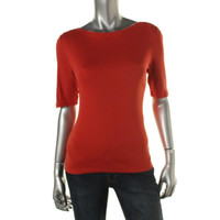 Charter Club Womens Knit Elbow Sleeves Pullover Top