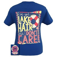 Girlie Girl Originals Lake Hair And Don't Care Summer Blue Bright T Shirt