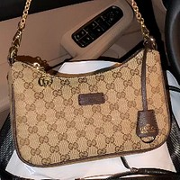 GUCCI 2020 New Simple Women's Wild Hobo Bag Two-Piece Set