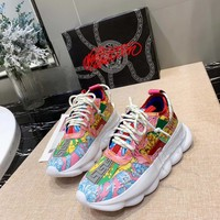 Versace Fluo Barocco Print Chain Reaction Trainers Sneakers - Best Deal Online