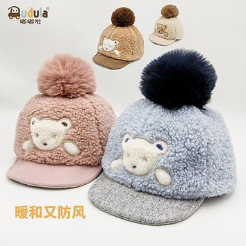 Dudu La Hat Baby Autumn And Winter 1-4 Years Old 3 Little Baby Boy Girl Cute Warm Cap