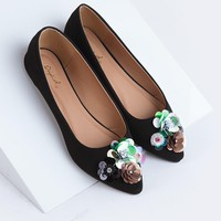 Embellished Pointed Toe Flat