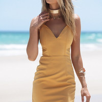 Yellow Zipper Back Strappy Bodycon Dress