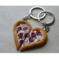 Pepperoni Pizza Best Friend Key Chain BFF Set