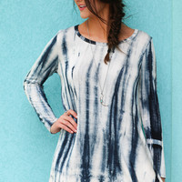 Oceanside Tide Teal & Ivory Long Sleeve Tie-Dye Tunic Dress
