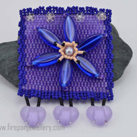 Flower Pin - blue and purple beadwoven flower brooch, blue flower, yellow flower, glass beads, handmade, one of a kind, garden, gift for her