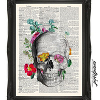 Flowers For The Dead Original Skull Collage Print on an Unframed Upcycled Bookpage