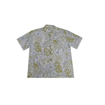 KY's Mens White Button Down Hawaiian Shirt with Monstera