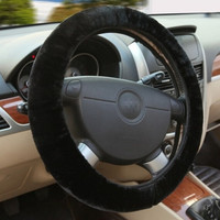 Black Winter Essential Warm Furry Fluffy Thick Faux Fur Car Steering Wheel Cover = 1931519236