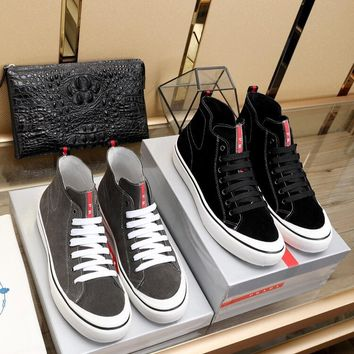Prada Men's SuedeLeather Fashion High Top Sneakers Shoes
