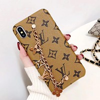 LV Classic Old Flower Checkerboard Pattern Wrist Chain Metal Phone Case Brown Lv Print
