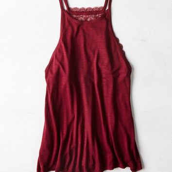 AEO Women's Embroidered Mesh Panel Tank