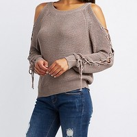Lace-Up Cold Shoulder Sweater | Charlotte Russe