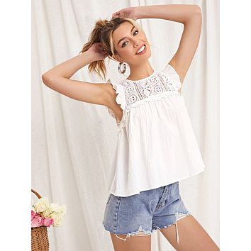 SHEIN Guipure Lace Yoke Ruffle Trim Top