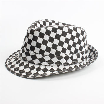 Black and White Checkered Print Fedora Trilby Derby Hat with Belt