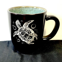 Colorful Coffee Mug with Swirly Sea Turtle Design, Deep Etched