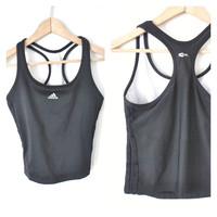 black ADDIDAS racer back crop top / vintage early 90s CLUB kid minimal ATHLETIC sheer mesh tank