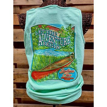 Southern Chics Apparel Let the Adventure Begin Canoe River Comfort Colors Girlie Bright T Shirt Tank Top