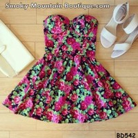 Rosana Floral Bustier Dress with Adjustable Straps - Size XS/S/M BD 542 - Smoky Mountain Boutique
