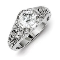 IceCarats® Designer Jewelry Size 7 Sterling Silver Cz Antique Look Ring