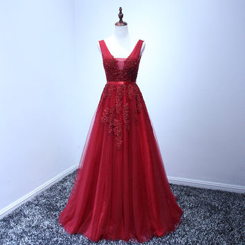 Red prom dress evening gown red maxi dress