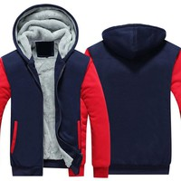 Autumn and Winter Coat Solid Color Cashmere Hooded  Mens Cotton Jacket Thick Coat Warm Outerwear Men Fleece Sweatshirts