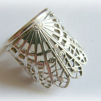 Armor Ring Moon Crown sterling silver ring - lace metalwork ring