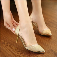 summer women shoes metal head Pointed pretty women sandals 6 cm high heels for ball party graduation formal  = 4776775620
