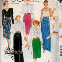 New Wave Style Fashion 80s Sewing Pattern McCall's Formal Wrap Skirt Maxi Floor Length Hip Gather Ruffle Flounce Uncut Waist 28