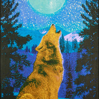 3D - Glow-in-the-Dark - Wolf - Tapestry