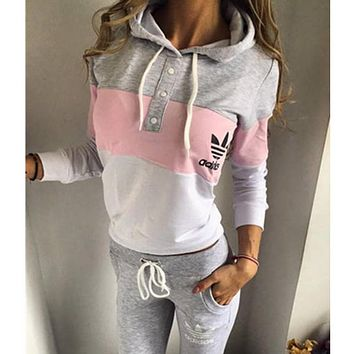 """""""Adidas"""" Fashion Multicolor Hoodie Sweater Pants Trousers Set Two-Piece"""