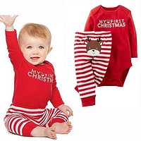 2016 Christmas Newborn Baby Girls Boys Cotton Romper +Long Pants Outfits Clothes 0-18M